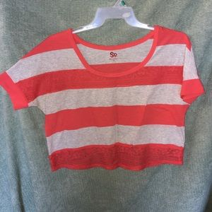 Striped Coral Crop Top
